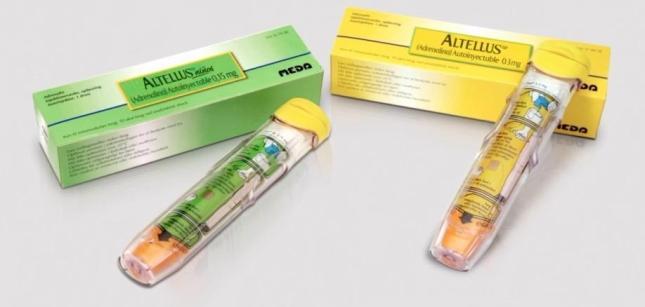 27/09/2012 Altellus. La compañía Meda ha presentado una nueva versión de su autoinyector de adrenalina 'Altellus', que incorpora un diseño mejorado que facilita su uso por parte del paciente y elementos de seguridad y control de la inyección de adrenalina en caso de reacción anafiláctica. SALUD MEDA